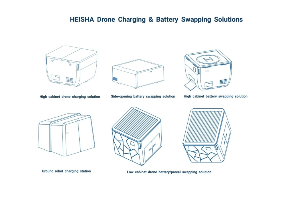 HEISHA drone charging and battery swapping solutions