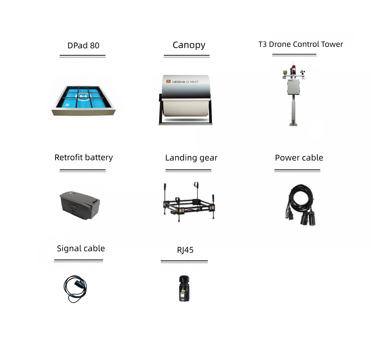 packing list of D80 drone dock